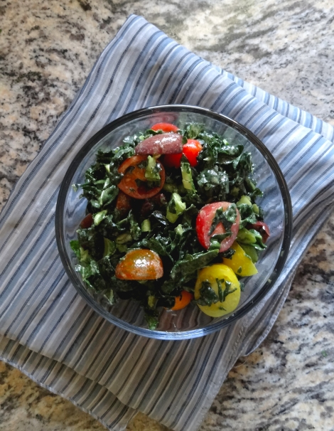 Chopped Kale Salad Heriloom Tomatoes via TheCheerfulKitchen