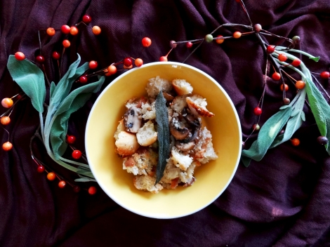 Vegan Mushroom and Sage Stuffing via The Cheerful Kitchen