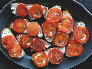 Fried Tomato Goat Cheese Toasts from The Cheerful Kitchen