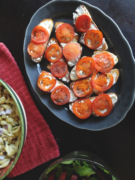 Fried Tomato Goat Cheese Toasts via The Cheerful Kitchen