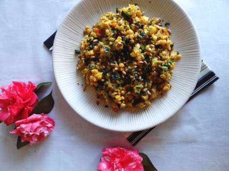 cauliflower barley risotto from the cheerful kitchen