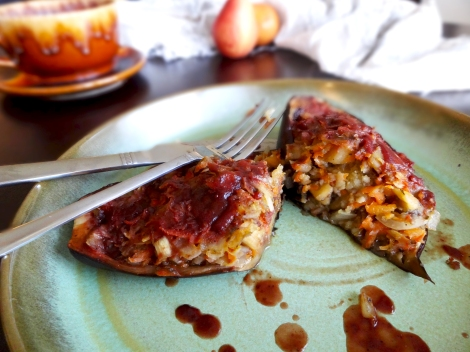 Stuffed Eggplatn via The Cheerful Kitchen
